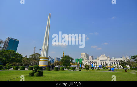 Yangon, Myanmar - Feb 13, 2017. Independence Monument at Mahabandoola park in Yangon, Myanmar. Yangon property market - Stock Photo