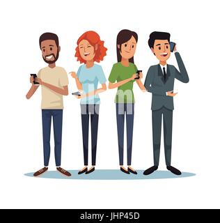 white background with set people social network communication - Stock Photo