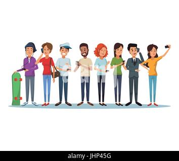 white background with group people social network communication - Stock Photo