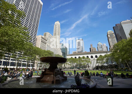 Josephine Shaw Lowell memorial fountain in bryant park New York City USA - Stock Photo