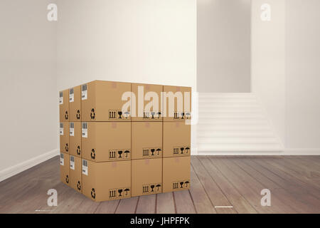 3D image of cardboard boxes against empty room - Stock Photo
