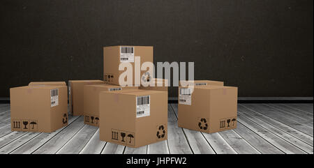 Group of digitally generated brown cardboard boxes against dark room - Stock Photo