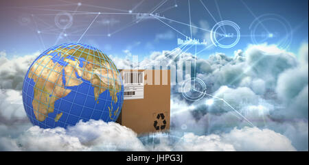 3D image of blue lines on planet Earth by box against composite image of interface connecting lines over clouds - Stock Photo