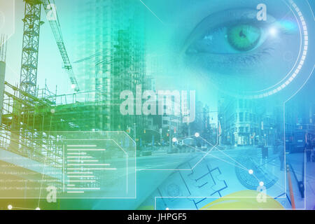 technology interface against overhead view of architect material - Stock Photo