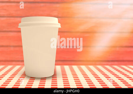 White cup over white background against full frame shot of red wall - Stock Photo