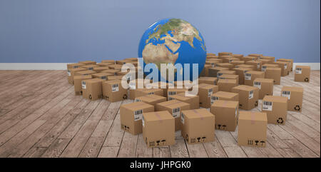 3D image of globe amidst cardboard boxes against room with wooden floor - Stock Photo