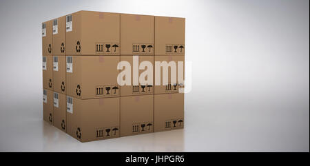 3D image of cardboard boxes against grey background - Stock Photo