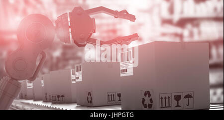 Packed courier on production line against full store room - Stock Photo