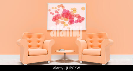Graphic image of colorful circles against empty armchairs against blank picture frame - Stock Photo