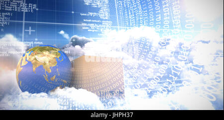 3D image of planet Earth and box against panoramic shot binary codes on blue screen - Stock Photo