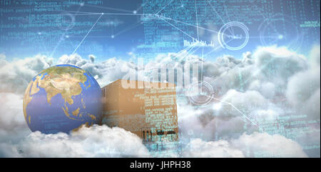 Composite image of binary codes against composite image of interface connecting lines over clouds - Stock Photo