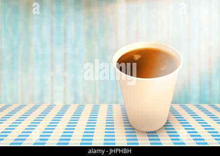 Coffee cup over white background against view of wooden planks - Stock Photo