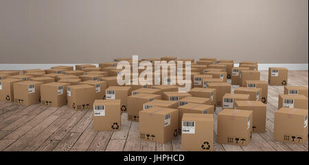 Group of computer generated cardboard boxes against room with wooden floor - Stock Photo