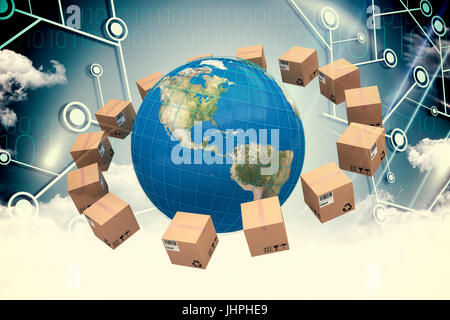Globe amidst cardboard boxes against cloud computing and lines - Stock Photo