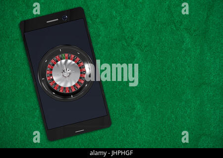 3D image of mobile phone with roulette against green painted paper - Stock Photo