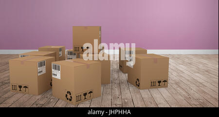 Group of illustrated cardboard boxes against room with wooden floor - Stock Photo