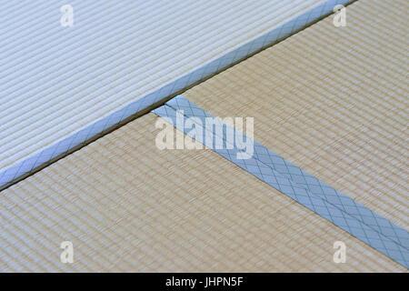 Macro details of traditional Japanese Tatami floor mats in horizontal frame - Stock Photo