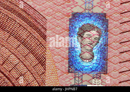 €10 banknote detail showing anti-forgery security features - new 'Europa' series, hologram - Stock Photo
