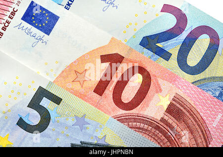 5, 10 and 20 Euro notes - Stock Photo