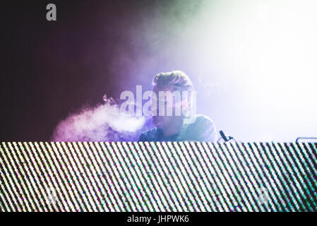 Grugliasco, Italy. 14th July, 2017. The Austrian producer and DJ Parov Stelar performing with his band on stage - Stock Photo