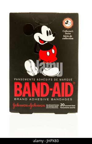 Winneconne, WI - 15 July 2017: A box of Band-Aids featuring Mickey Mouse on an isolated background. - Stock Photo