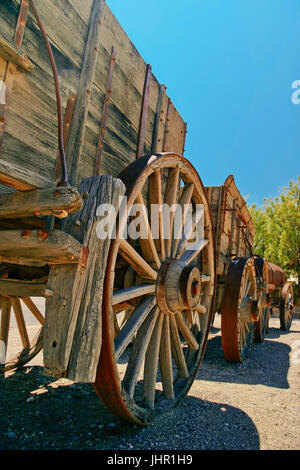 Retro wagon in the Death Valley. California. United States - Stock Photo