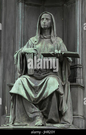 Allegorical female figure personifying the Theological Faculty of the Charles University on the pedestal of the - Stock Photo
