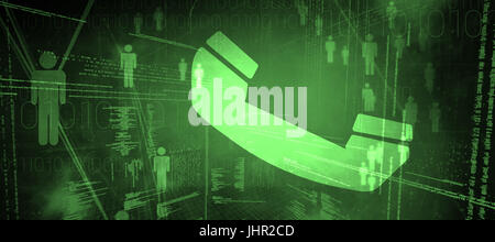 Telephone against binary codes and people icons - Stock Photo