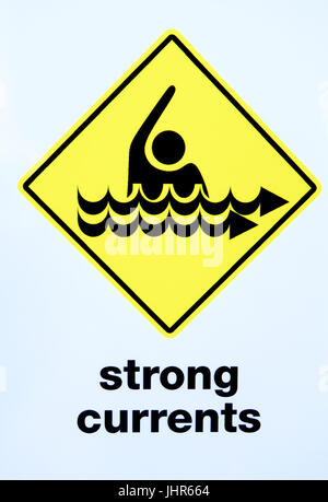 Strong Currents signage. - Stock Photo