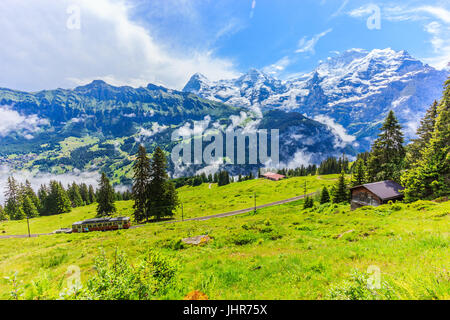 Majestic panoramic view of Eiger, Monch, Jungfrau mountains from Murren-Gimmelwald trail, Swiss alps, Bernese Oberland, - Stock Photo