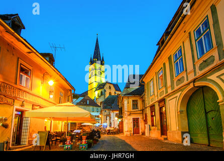 Lutheran Church, built  in the Huet Square,  seen from the streets of medieval Lower Town city, Transylvania,Sibiu, - Stock Photo