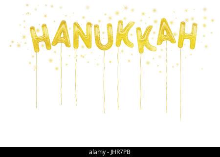 Golden Hannukah balloons and stars on white background. - Stock Photo