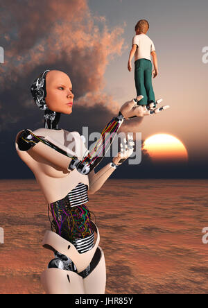 A Boy Standing In A Robots Hand. - Stock Photo