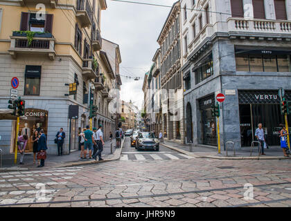 Milan, italy, July 14th, 2017: Via Montenapoleone street in Milan, with people around at day time. This is a high - Stock Photo
