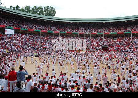 The Plaza after the Running of the Bulls in Pamplona Spain - Stock Photo