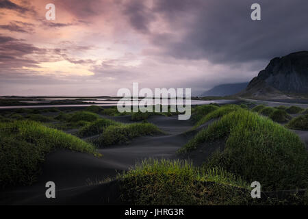 Black sand dunes at Vestrahorn - Stock Photo