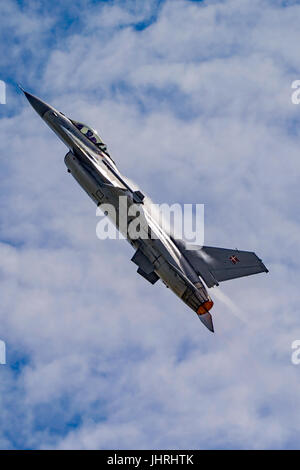 Danish Air Force F-16 displaying at RNAS Yeovilton Air Day, UK on the 8th July 2017. - Stock Photo