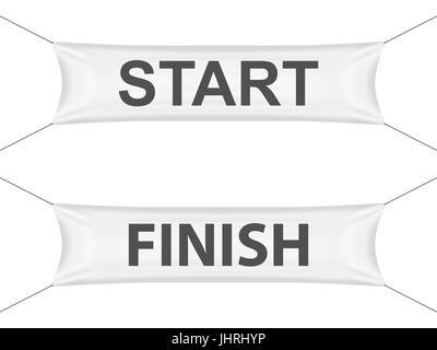 Start finish banner on a white background. - Stock Photo