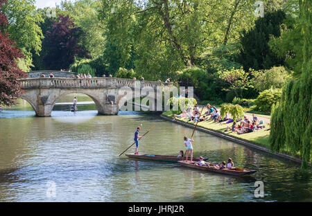 Punting on the River Cam on a sunny summer day, Cambridge, Cambridgeshire, England UK - Stock Photo