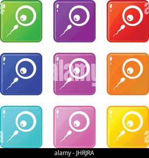 Donor sperm icons 9 set - Stock Photo