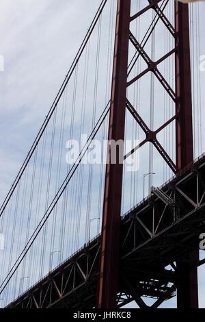 Detail of a bridge stanchion Ponte 25 de Abril Bridge Lisbon Portugal - Stock Photo