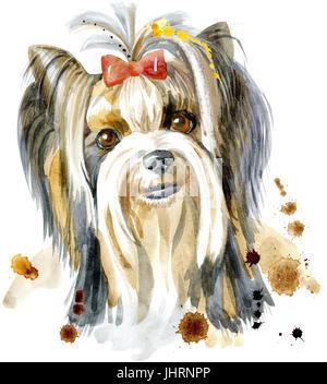 Dog, yorkie on white background. Hand drawn sweet pet illustration. Symbol of the year 2018 - Stock Photo