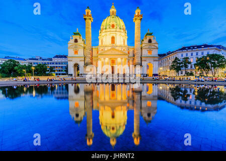 Vienna, Austria. St. Charles's Church (Karlskirche) at twilight. - Stock Photo