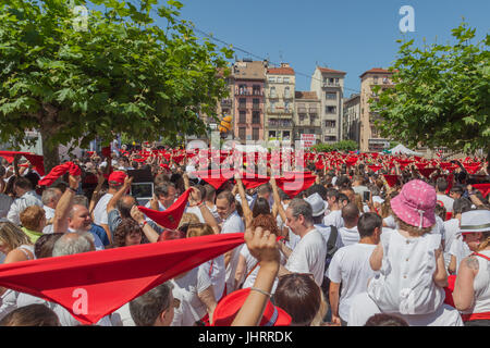 Opening ceremony of San Fermin Festival  at City hall square in Pamplona, Spain - Stock Photo