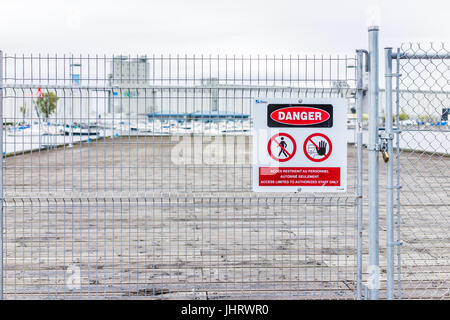 Quebec City, Canada - May 30, 2017: Old Port area with Bassin Louise and view of boats on water and G3 terminal, - Stock Photo