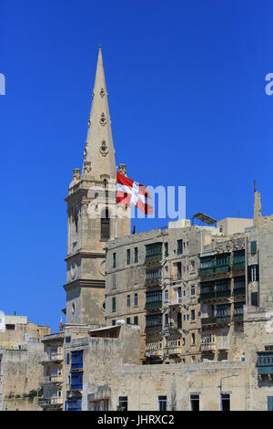 The spire of St Paul's Pro-Cathedral, in Valletta, Malta - Stock Photo