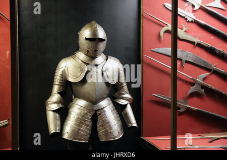 The popular arms collection in the Palace Armoury, in Valletta, Malta - Stock Photo