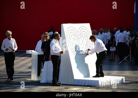 Nice, France. 14th July, 2017. A board with the names of 86 victims is seen in Nice, France, on July 14, 2017. Various - Stock Photo