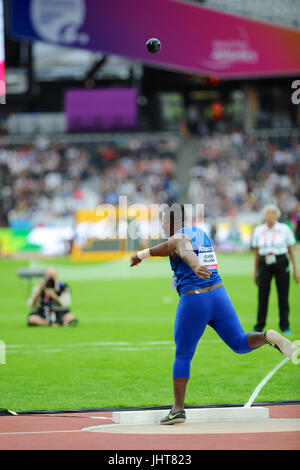London, UK. 15th July, 2017. Congo Villalba (ECU) throwing the shot during the Men's Shot Put F20 final at the World - Stock Photo