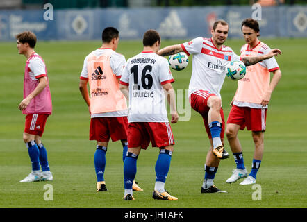Hamburg, Germany. 16th July, 2017. Pierre-Michel Lasogga (2-R) of the German Bundesliga Team Hamburger SV trains - Stock Photo
